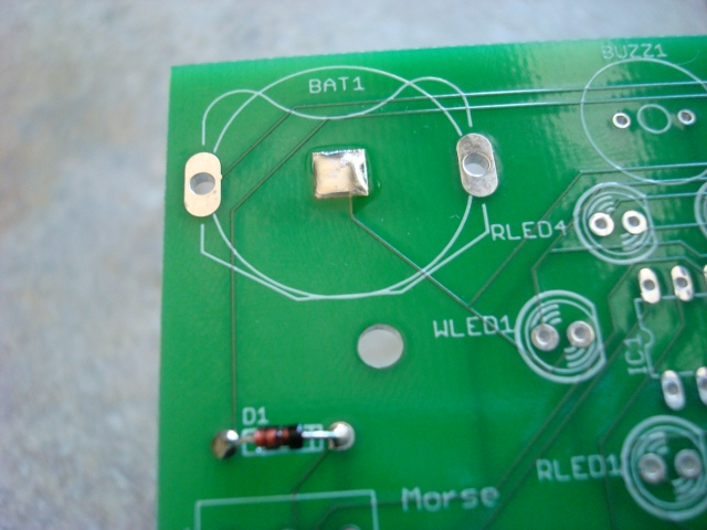 A picture of the battery pad soldered.