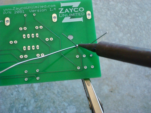 A picture of the diode being soldered.